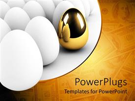 Colorful PPT theme having golden egg in bunch of white eggs