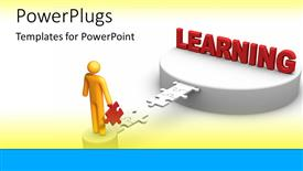 PPT theme with golden figure building a bridge of puzzle pieces to a platform of learning