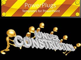 Amazing slides consisting of golden figures wearing hard hats holding silver under construction words on black background