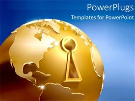 Presentation design consisting of a golden globe with a keyhole in it