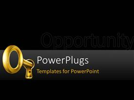 Presentation theme consisting of golden key place in key hole on black background