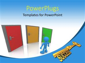 PPT theme having golden SUCCESS key with man standing before three colored doors