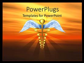 Colorful presentation theme having golden symbol of caduceus over background with sun in sky