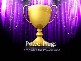 PPT layouts having golden trophy on black stand with abstract glowing purple background