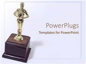 Slide deck with golden trophy on wooden base with white background