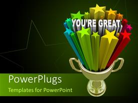 Colorful PPT Theme Having Golden Trophy With The Words Youre Great On A Black
