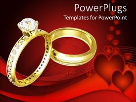 PPT theme with golden wedding rinds with diamonds on heart red background