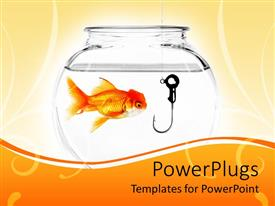Beautiful slide deck with goldfish in fishbowl with fishing hook in bowl on cream and orange background