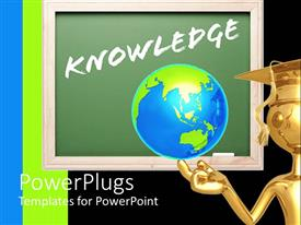 PPT theme with a graduate holding the globe with green board in the background