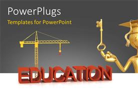 Elegant PPT theme enhanced with a graduate with a key and machiney in background