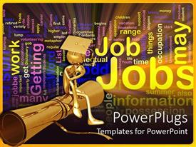 Beautiful PPT theme with a graduate sitting on its degree and thinking of job