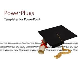 PPT theme enhanced with a graduating cap with a degree and white background
