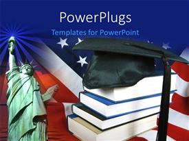Slides consisting of graduation cap on book pile with statue of liberty against American flag