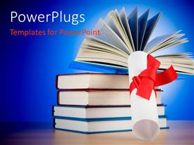 PPT theme featuring a graduation degree with a bundle of books