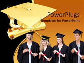 Elegant presentation theme enhanced with graduation theme with four graduating students holding diploma and golden graduation cap