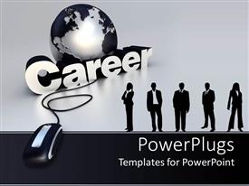 Amazing PPT theme consisting of gray globe next to five professionals and gigantic mouse in gray background