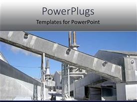 Beautiful PPT layouts with gray industrial building against clear blue sky