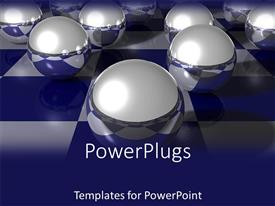Presentation theme with gray metal spheres placed on blue-white checkers pattern surface