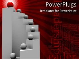 Audience pleasing presentation theme featuring gray spheres on stairs with red sphere at top