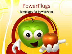 Presentation design featuring green 3D cartoon character with red apple in hand