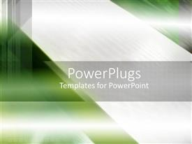 PPT theme featuring green abstract background with silver grey