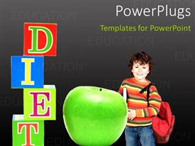 Amazing slides consisting of green apple with colored 3D cubes forming word DIET