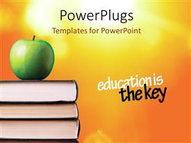 Elegant slide deck enhanced with green Apple over books with saying ' education is the key'