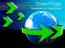 Logistics powerpoint templates ppt themes with logistics backgrounds audience pleasing presentation featuring green arrow wrapping around earth logistics travel global communications template size audience pleasing toneelgroepblik Images