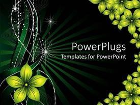 Amazing PPT theme consisting of a green background is decorated with yellow flowers and white glowing lines