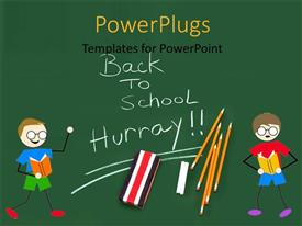 Audience pleasing slide set featuring green background with two kids, pencils and chalk with text back to school