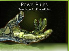 Presentation theme enhanced with green and blue robot hand with circuitboard with black and green background and green light burst