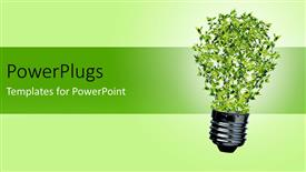 Beautiful PPT theme with green bulb with leaves as a symbol of energy and nature depicting recycle concept