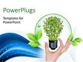 Presentation having green bulb as symbol of sustainable energy and nature protection with blue waves in the background