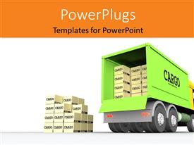 PPT theme having green cargo truck withbrown cartons loaded for delivery