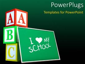 Presentation design enhanced with green chalkboard with text I love school and letter cubes