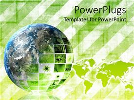 PPT theme enhanced with green colored earth globe on a light green background