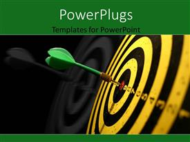 Presentation theme having a green dart hitting the middle of a dart board