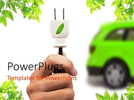 Elegant slide deck enhanced with green electric car, hand with white leaf motif plug, green leaf corners, white background