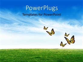 Elegant PPT layouts enhanced with a green field with a number of butterflies