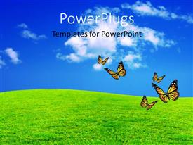 PPT theme consisting of a green field with a umber of butterflies