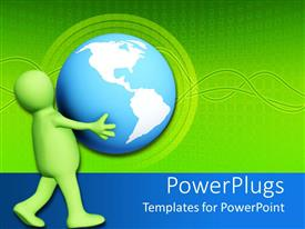 PPT theme having green figure carries large blue and white globe