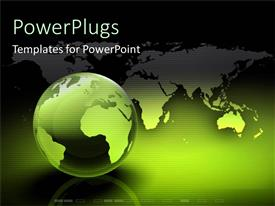 PPT theme consisting of green globe of world technology light hope humanity communication