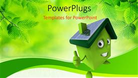 PPT layouts enhanced with depiction of green smiley house over green background with fresh leaves