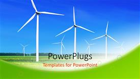 Elegant theme enhanced with wind turbines lined up in large field to generate power
