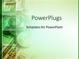Presentation theme enhanced with green money for finances as a metaphor on a fading white background