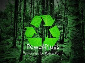 Presentation theme featuring green recycling symbol and forest