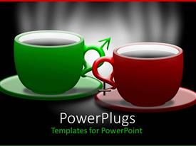 Amazing theme consisting of green and red coffee mugs with saucer on black background