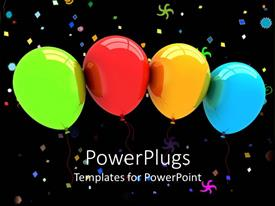 Audience pleasing slides featuring green, red, yellow and blue balloons and party colorful symbols on black background