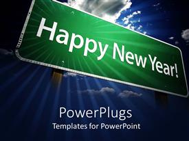 Amazing presentation consisting of green sign post with happy new year words on sky background