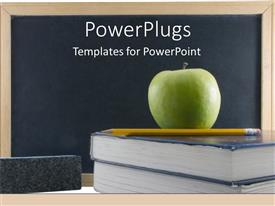 Presentation featuring green teachers apple on textbook with chalkboard and pencil education school
